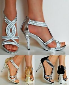 New-Womens-Party-Prom-Diamante-Ankle-Straps-Mid-Heel-Shoes-Sandals-Size-6606