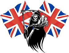 Racing Grim Reaper Skull Union Jack Flag Car MotorBike Bike Van Sticker LSGRUJ2s