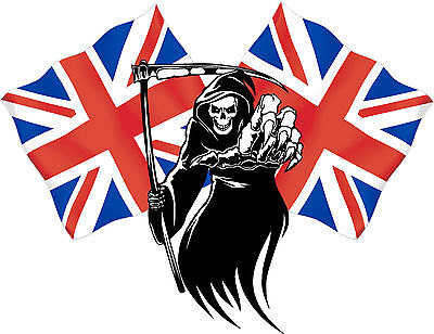 Racing Grim Reaper Skull WELSH Flags Wales Car van bike Sticker Decal #9