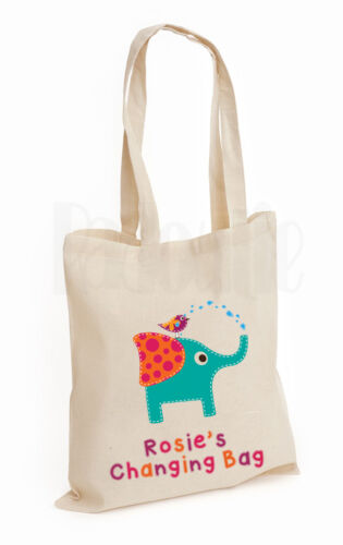 Personalised Baby Changing Nappy Cotton Canvas Tote Bag /'Elephant /& Bird/'