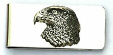 Hawk Head Pewter Design Money Clip FREE ENGRAVING Hunting Present Award Gift