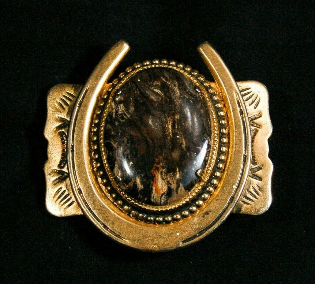 Agate Horseshoe western belt buckle gold tone 2.5 inches