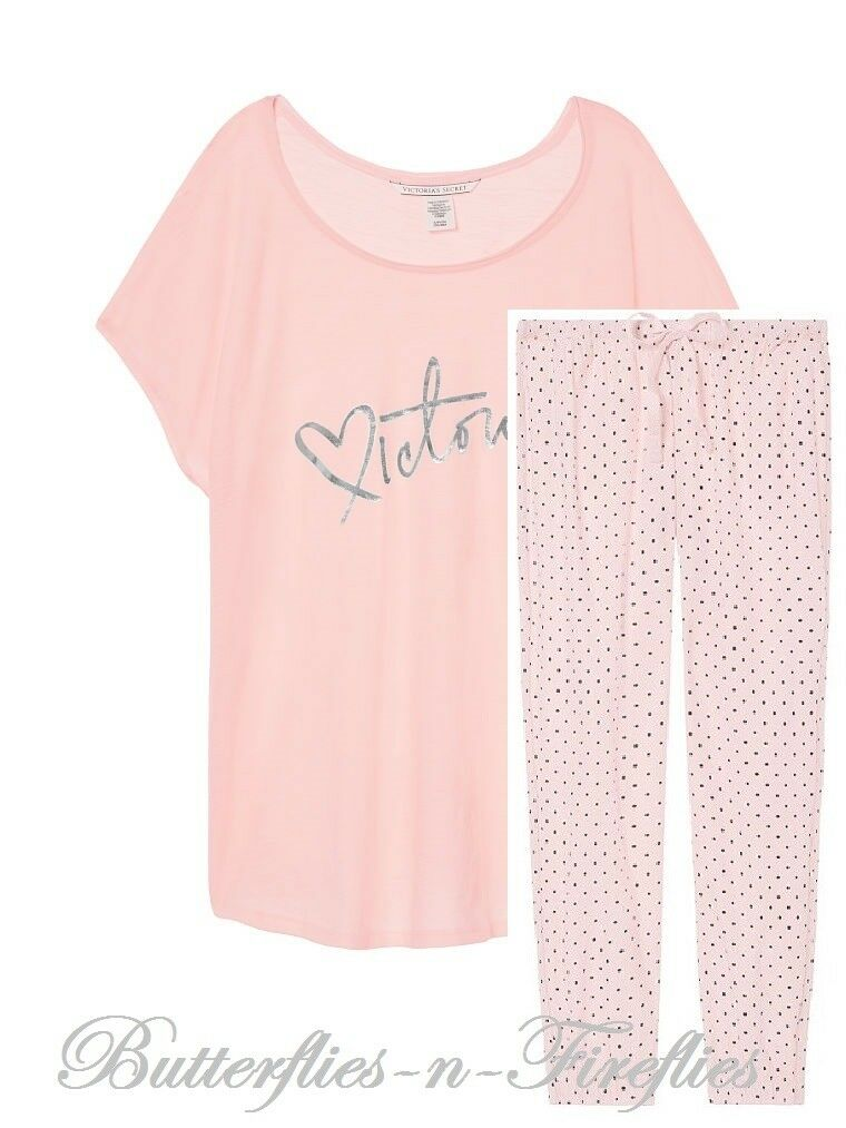 New NIP Victoria's Secret 2pc Pajama Set Graphic Tee & The Flannel Jogger Pink M