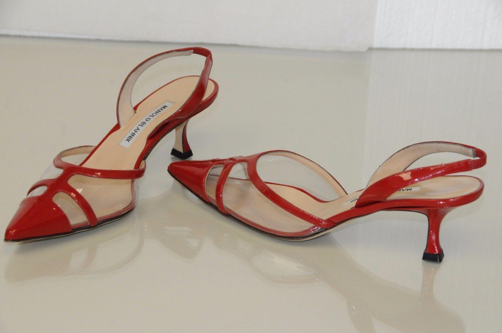 New MANOLO BLAHNIK Carolyne rouge Patent PVC Kitten Heels chaussures 36 38 40