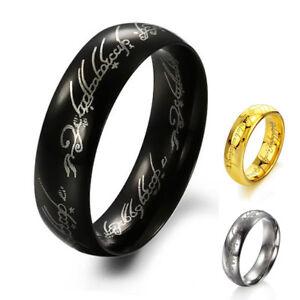 Anello Acciaio collezione HOBBIT argento SIGNORE degli ANELLI nero oro el
