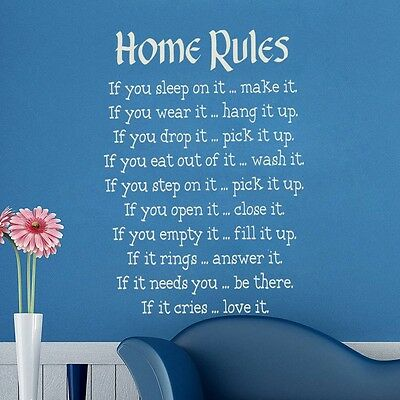 Home rules Family decals Art Vinyl Quote Wall Stickers Home Wall Decals decor
