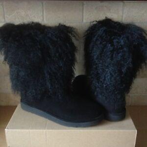 e0762d4f9c9 Details about UGG Lida Mongolian Sheepskin Cuff Black Suede Classic Boots  Size US 5 Womens