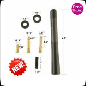 Screw 4.7inches+ Car Antenna Carbon Fiber Radio FM Antena Black Kit Universal