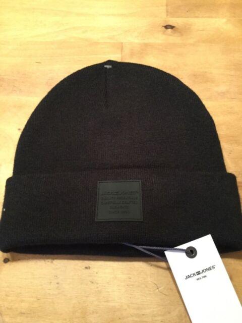Men/'s Jack /& Jones Jaclogo Tassle Beanie Bobble Woolly Hat Acrylic Grey Navy