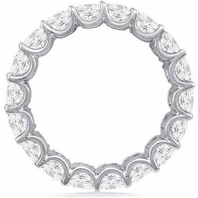 "3.40 ct Round Diamond Eternity Ring 14K Gold Band 17 x .20 ""U"" shape F VS/SI1"