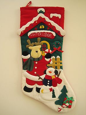 3D Bear Christmas Stocking Winter Lodge Theme