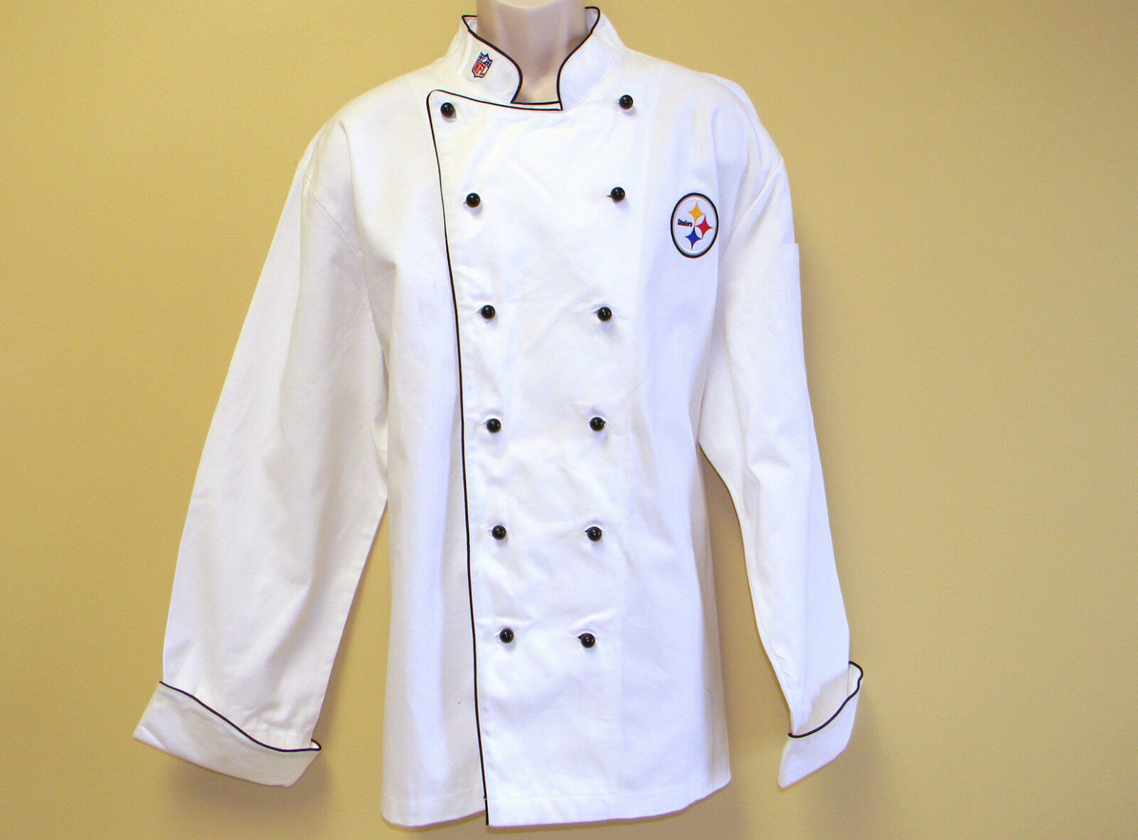 reputable site 96abb 56d98 NFL Pittsburgh Steelers Premium Chef Coat 100 Cotton L Size Football Chief
