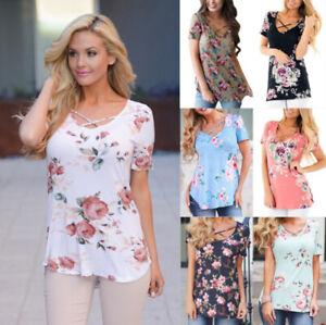 Women-Loose-Short-Sleeve-Casual-Blouse-Shirt-Tops-Floral-Summer-T-shirt