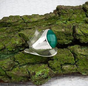 Gruener-Onyx-Ring-Sterlingsilber-925-Gruen-Briolett-Unisex-Gr-64-20-3-mm