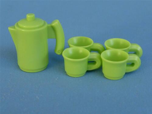 NEW for House Cafe Playmobil Tea Coffee set Pot /& Cups spares Green