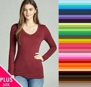 Womens-Plus-Size-V-Neck-T-Shirt-Layering-Long-Sleeve-Active-Basic-XL-1X-2X-3X