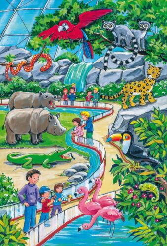 3 x 24 Teile Schmidt Spiele Kinder Puzzle Ein Tag im Zoo 56218