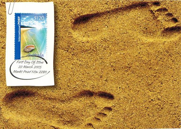 2005 Australian Maxi postcard *FOOTPRINTS IN SAND*