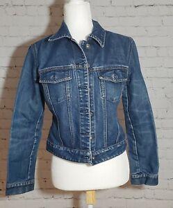 Gap Women's jean denim jacket blue button front Small, cotton blend pockets