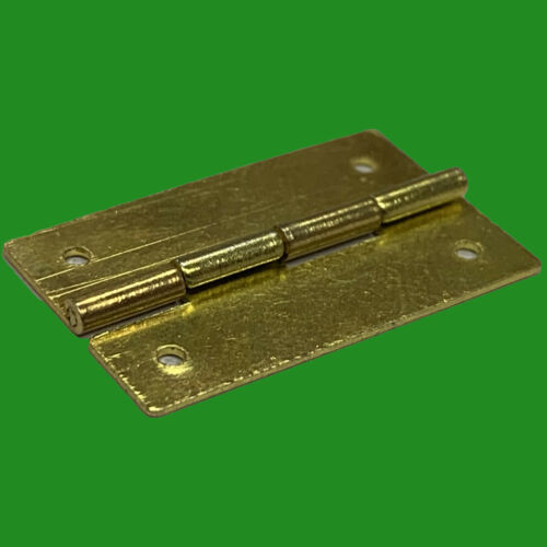 2x Brass 24mm Miniature Pin Pressed Butt Hinges Doll House Jewellery Box