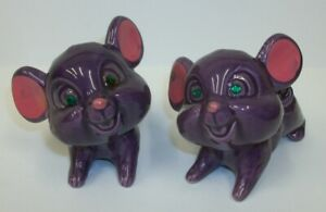 Vintage-Norleans-Purple-Mice-with-Green-Jeweled-Eyes-Salt-and-Pepper-Shakers-MIJ