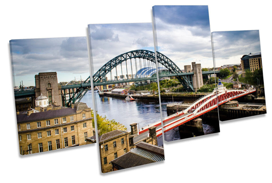 Newcastle Quayside Tyne Bridge MULTI CANVAS Wand Kunst Framed Panel