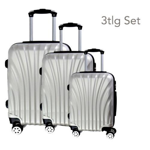 VALIGIA da viaggio set per vacanze 3tlg rk2 ARGENTO leggermente /& stabile GUSCIO DURO design