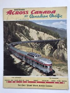 Vintage-1950s-Canadian-Pacific-Westward-Across-Canada-Travel-Brochure-Dome-Train