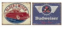 Set Of 2 Vintage-style Signs - Older & Wiser Speed Shop, Budweiser - Great Gift