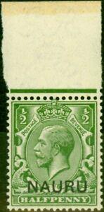 Nauru-1916-1-2d-Yellow-Green-SG1b-Opt-Double-One-Albino-V-F-MNH