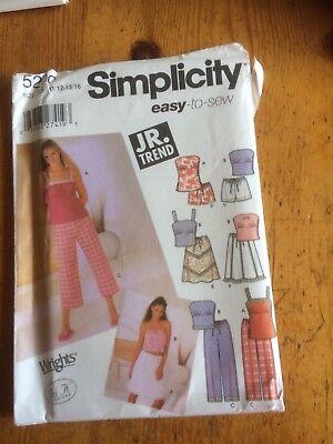 Papel De Patrón De Costura Simplicidad Tendencia Jr. Nuevo Y Sin Cortar 5200 Talla 3/4-5/6-7/8-9/10-10 Es-es Excelente Calidad