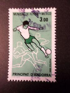 ANDORRE-FRANCAIS-1986-timbre-350-MEXICO-86-FOOTBALL-oblitere-VF-cancel-stamp