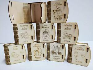 Segnaposto Matrimonio Legno.Scatolina Libro Pieghevole In Legno Porta Confetti Segnaposto