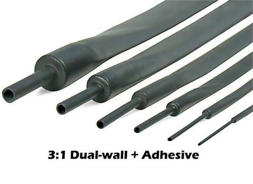 """25Ft 3//4/"""" 19mm Black 3:1 Dual-Wall ADHESIVE Lined Heat Shrink Tubing"""