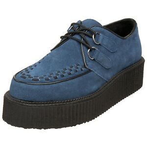 DEMONIA-Platform-Mens-Rockabilly-Punk-Goth-Shoes-CREEPERS-Blue-Suede