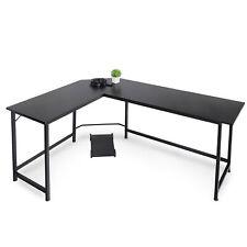 L Shaped Desk Corner Computer Gaming Work Table Workstation Office Black 66