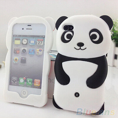 Stunning 3D Panda Silicone Protective Back Case Cover Skin For iPhone 4 4S 5 5S