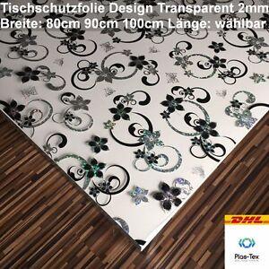 tischfolie tischdecke schutzfolie 2mm design transparent klar 80cm 90cm 100cm ebay. Black Bedroom Furniture Sets. Home Design Ideas