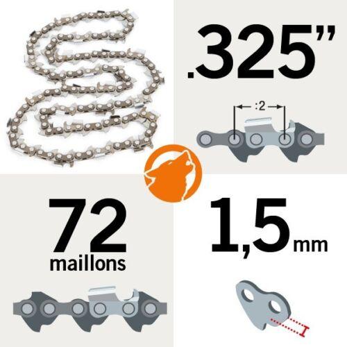 """Chaîne tronçonneuse KERWOOD 72 maillons 0.325/"""" 1,5mm"""