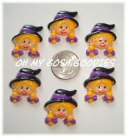 6pc Halloween Baby Witchy Poo Witch Flat Back Flatback Resins 4 Hairbow Center