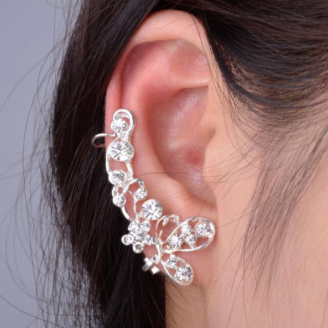 Retro Crystal Butterfly Flower Clip Ear Cuff Stud Earring Wrap Girl Jewelry Gift