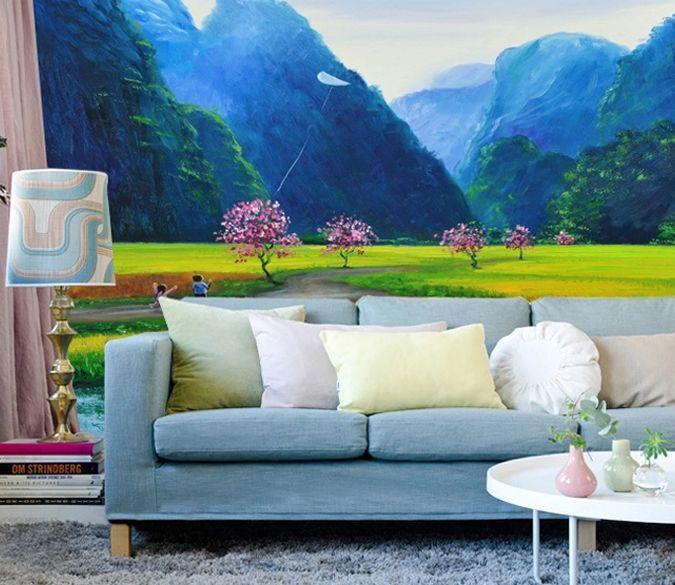 3D Bleu Montagne 71 Photo Papier Peint en Autocollant Murale Plafond Chambre Art