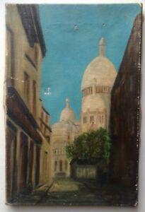 Tableau-ancien-Ruelle-Montmarte-Paris-Huile-sur-toile-a-restaurer-c1920
