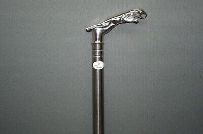 Luxus Edelstahl Spazierstock  Gehstock Wanderstock  silbern  93 cm Panther
