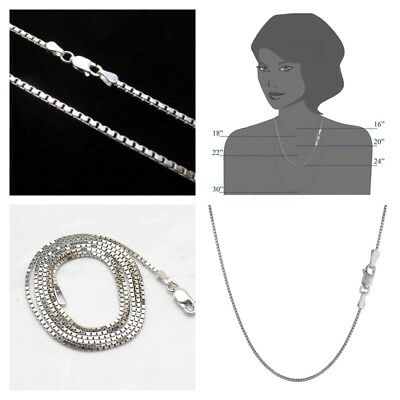 925 Sterling Silver 1.4mm Box Chain