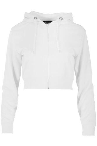 Womens Ladies Zipper Fleece Plain Sweatshirt Hoody Full Sleeve Cuff Cropped Top