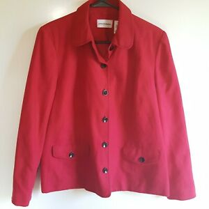 Alfred-Dunner-Women-039-s-Jacket-Size-12-Faux-Red-Suede-Black-Stiching