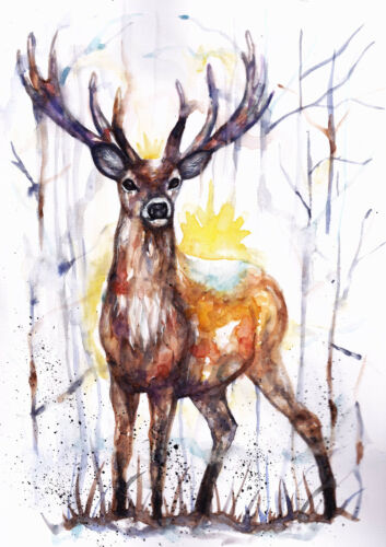 Gift Stag Sale,Original Watercolour Card wall Wildlife,Animal,Art Print