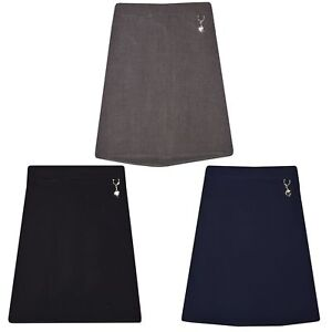 Kids Girls School Uniform Plain Lycra Cuore Gonna Nero Grigio Età 2-16  </span>