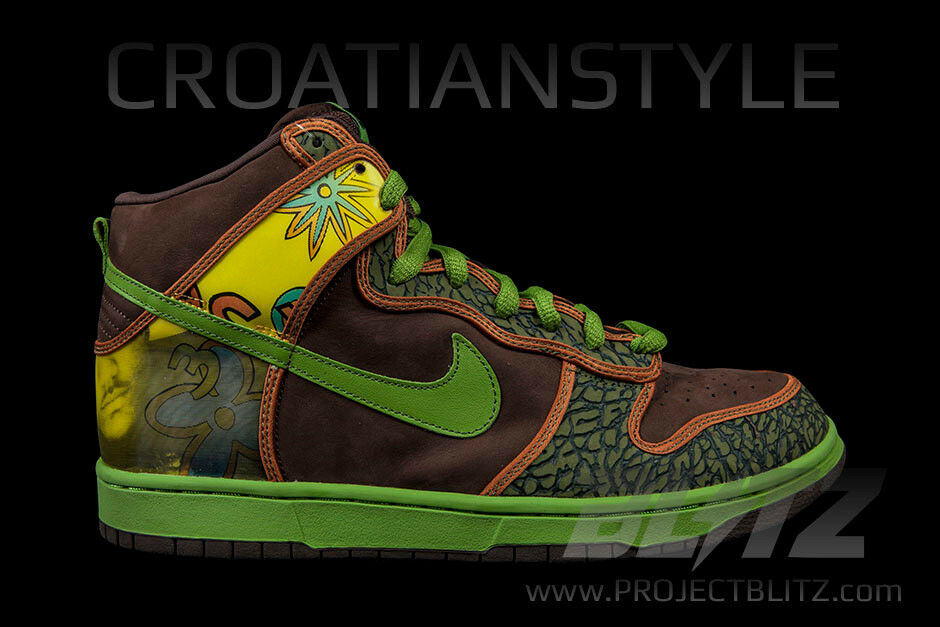 NIKE DUNK HIGH PRO SB DE LA SOUL Sz 8-13 BAROQUE BROWN ALTITUDE GREEN 305050-231